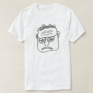 Sad man frown hand drawn face shirt