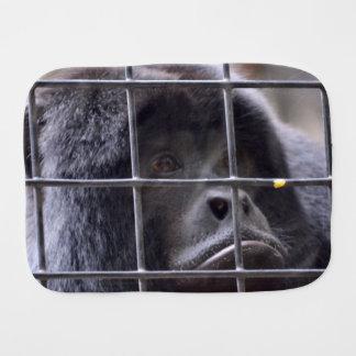 sad monkey in cage primate image baby burp cloths