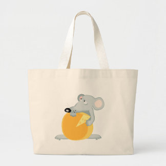 Sad Mouse Mice Holding Cheese Canvas Bags