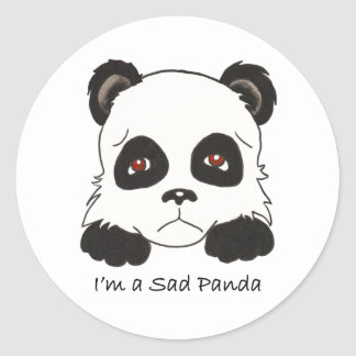 Sad Panda Classic Round Sticker