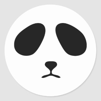 Sad panda face classic round sticker