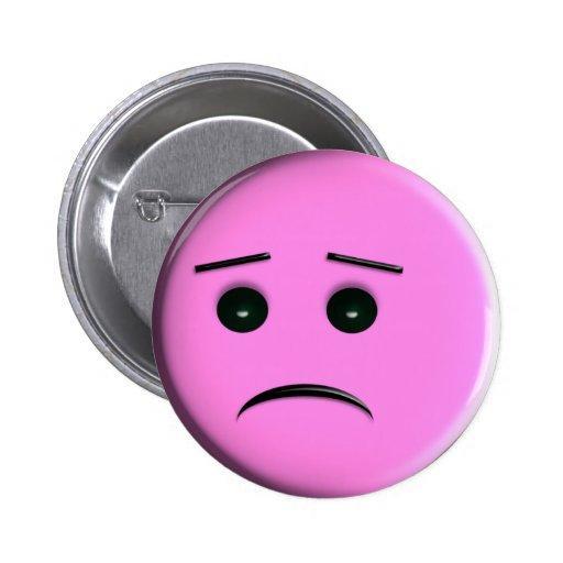 Sad Pink Smiley Face Pin   ButtonPink Sad Face