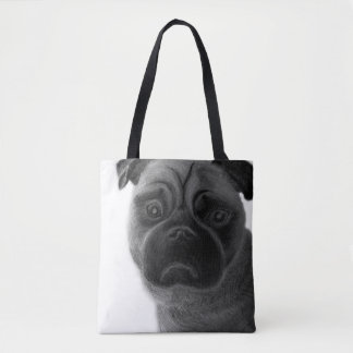 Sad pug, pencil drawn tote bag