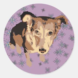 Sad puppy dog classic round sticker