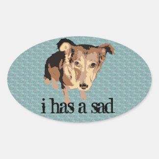 Sad puppy dog oval sticker