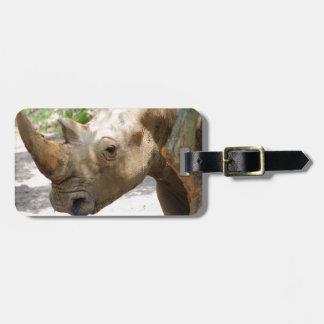 Sad Rhinoceros Face Luggage Tag