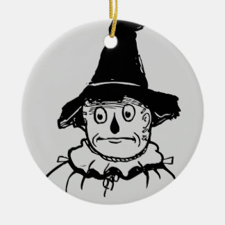 Sad Scarecrow Wizard of Oz Vintage Illustration Round Ceramic Decoration