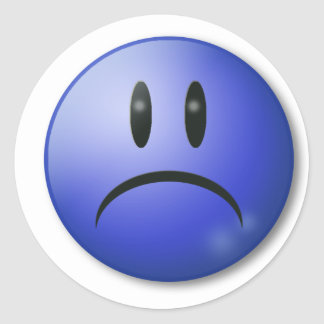 Sad smile Face Classic Round Sticker