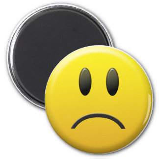 Sad Smiley Face 6 Cm Round Magnet