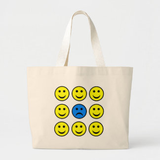 Sad Smiley Face in a Crowd of Happy Smilies Large Tote Bag