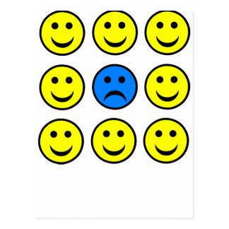 Sad Smiley Face in a Crowd of Happy Smilies Postcard