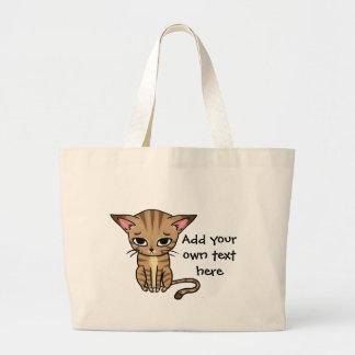 Sad Tabby cat Kitten Large Tote Bag