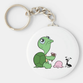 Sad Turtle Happy Ant Basic Round Button Key Ring