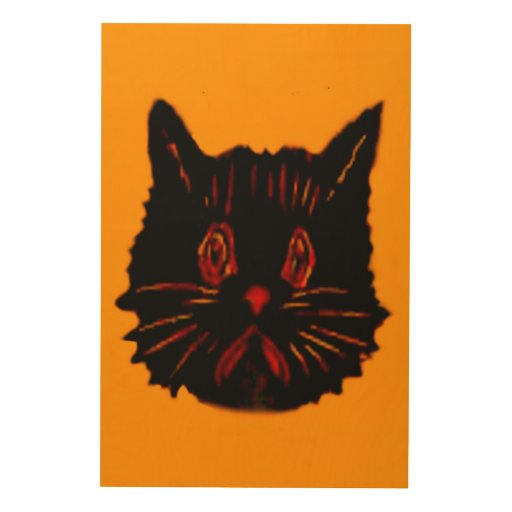 Sad Unhappy Frown Glum Gloomy Down Black Cat Wood Canvases