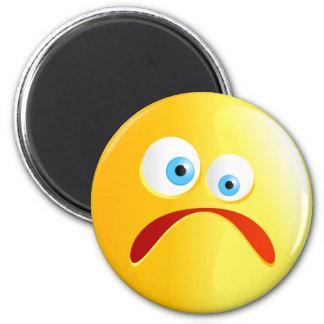 Sad Yellow Smilie 6 Cm Round Magnet