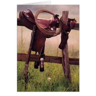 Saddle and Lasso on Fence Card