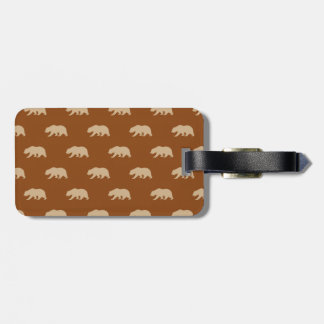 Saddle Brown and Tan Grizzly Bear Pattern Bag Tag