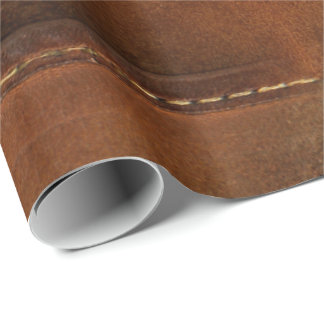 Saddle Up Tan Faux Leather Wrapping Paper