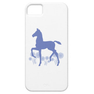 Saddlebred Foal Flowers in blue iPhone 5 Covers