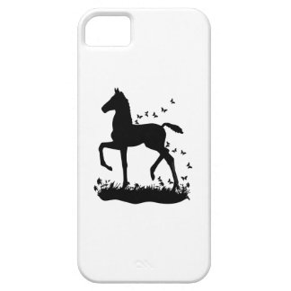 Saddlebred Foal Silhouette Butterflies iPhone 5 Case