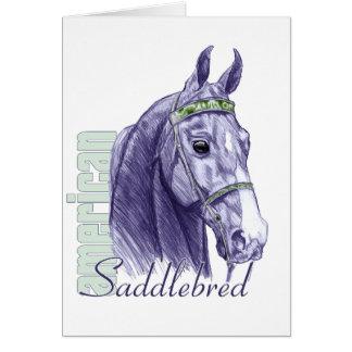 Saddlebred Head Study, Blue Greeting Cards