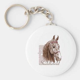 Saddlebred Head Study, Brown Basic Round Button Key Ring