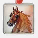 Saddlebred Horse Fine Harness Silver-Colored Square Decoration