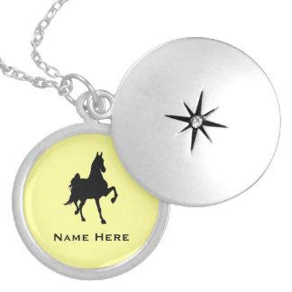 Saddlebred Horse Silhouette Round Locket Necklace