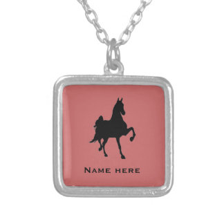 Saddlebred Horse Silhouette Square Pendant Necklace