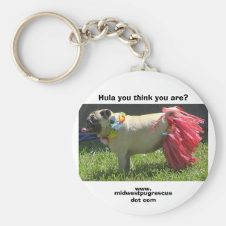 Sadie May hula girl, Hula you think you are?, w... Basic Round Button Key Ring
