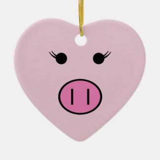Sadie The Pink Pig ~ Cute Kawaii Ceramic Heart Decoration