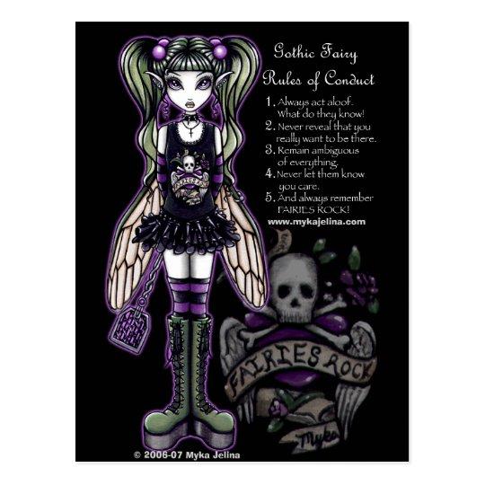 Sadies' Rules of Conduct Gothic Skull Faery Postcard