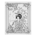 Sadness in Silence Art Nouveau - Adult Colouring Poster