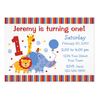 Safari 1st Birthday Custom Invitation