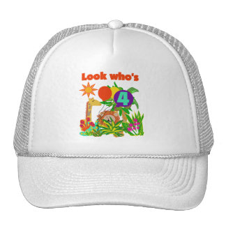 Safari 4th Birthday Tshirts and Gifts Mesh Hats