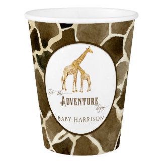 Safari Adventure Giraffe Themed Boy Baby Shower Paper Cup