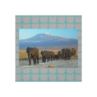 Safari Africa Elephants Stretched Canvas Print