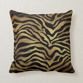 Safari African Gold Glam Zebra Animal Skin Black Cushion