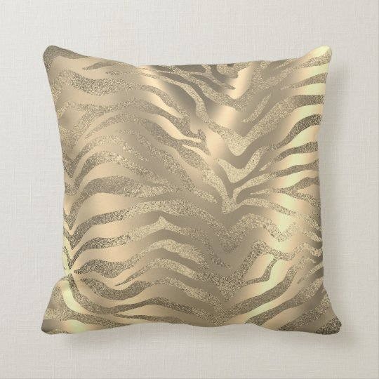 Safari African Gold Glam Zebra Animal Skin Sepia Cushion