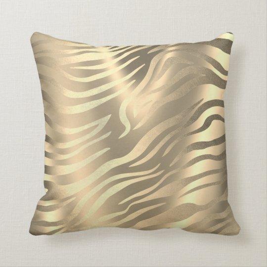 Safari African Gold Zebra Animal Skin Sepia Miami Cushion