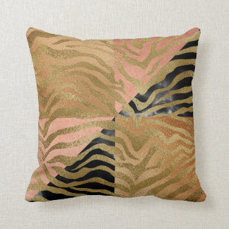 Safari African Marble Gold Glam Zebra Animal Skin Cushion