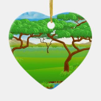 Safari African Savannah Scene Landscape Ceramic Heart Decoration