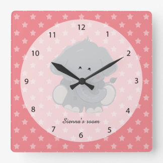 Safari Animal, choose your own background color Square Wall Clock