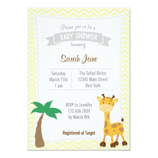 Safari Animal Giraffes Baby Shower Invite Yellow