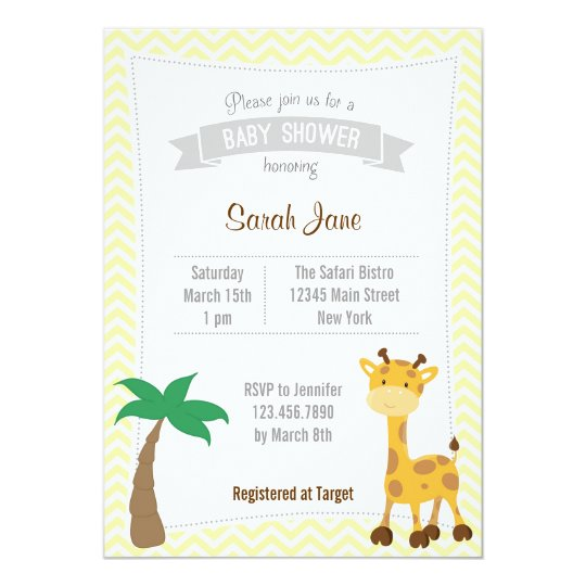 Safari Animal Giraffes Baby Shower Invite Yellow
