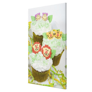 Safari animal party cupcakes. stretched canvas print