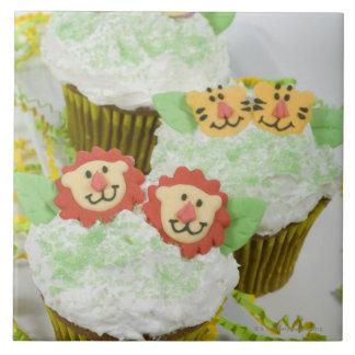 Safari animal party cupcakes. large square tile