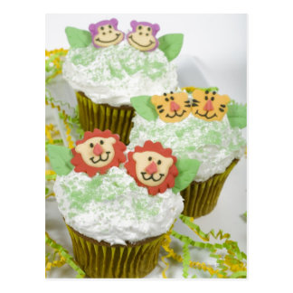 Safari animal party cupcakes. postcard
