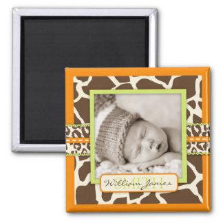 Safari Animal Print Birth Announcement Square Magnet