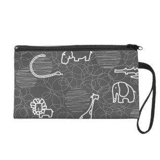 safari animals 5 wristlet purses